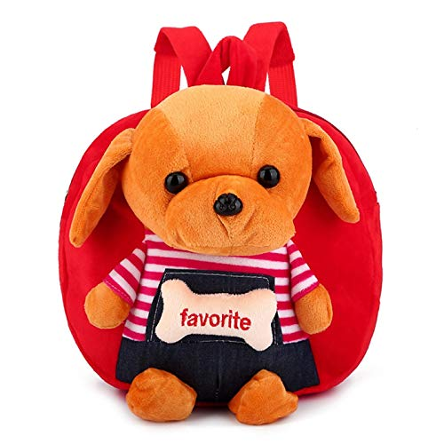 LUSTAR Toddler Backpack Plush Dog Daypack Cute Kids School Bags Children Outdoor Bag Red