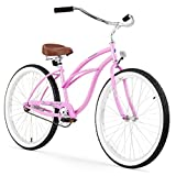 Firmstrong Urban Lady Single Speed 26' Beach Cruiser Bicycle, Pink w/ Brown Seat