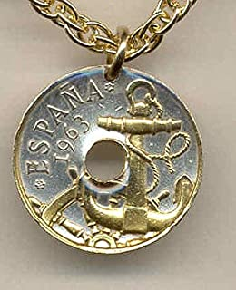 """Gorgeous 2-Toned """"Gold on Silver"""" Spanish """"Anchor & Ships wheel"""",(Uniquely Hand done) coin Necklaces for women men girls girlfriend boys teen girls Pendants"""