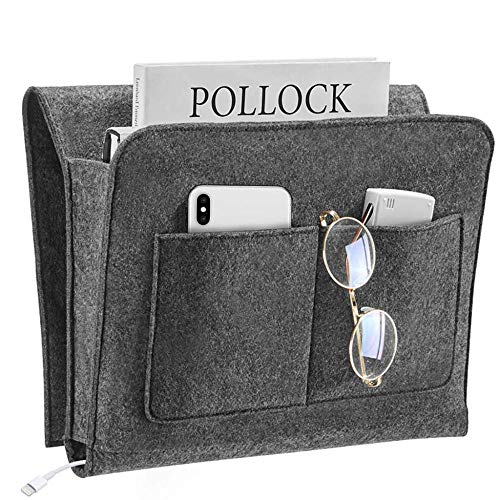 Bedside Pocket Thick Felt Bedside Caddy Storage Bag Sofa Bed Remote for TV Remote, Phone, Magazine, iPad, Tablet