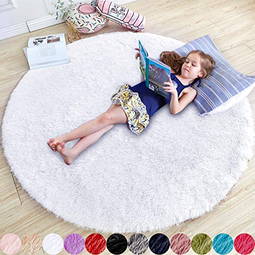 White Round Rug for Bedroom,Fluffy Circle Rug 5'X5' for Kids Room,Furry Carpet for Teen's Room,Shaggy Circular Rug for Nursery Room,Fuzzy Plush Rug for Dorm,White Carpet,Cute Room Decor for Baby