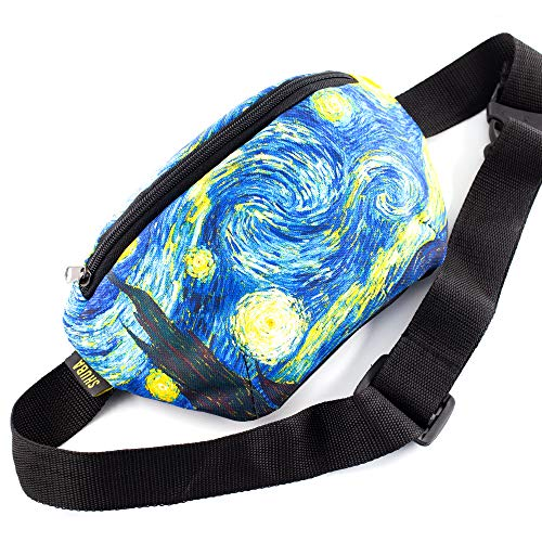 Chest Pack Belt Bag Hip Bum Wallet Pouch Funny Gifts Waist Packs Starry Night, Waist Pocket, Masterpiece Gifts, Adjustable belt bag, famous art canvas, for travellers (The Starry Night)