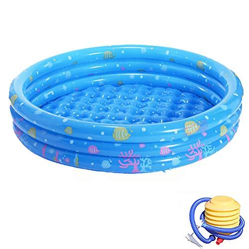 Opvouwbare Buiten Zwembad Buiten Te Spelen Voor De Kinderen Pool Ronde Opblaasbare Kinderbad Bad Met Pomp Summer Open Lucht,Blue,150cm