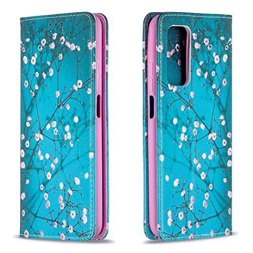 Miagon Brieftasche Hülle für Samsung Galaxy A12,Kreativ Gemalt Handytasche Case PU Leder Geldbörse mit Kartenfach Wallet Cover Klapphülle,Blau Blume