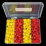 JVSISM 200pieza/Lote senuelo de la Pesca de Cebo Carpa Suave Establece Sabor de maiz Flotante Cebo Artificial Amarillo Rojo con Caja de plastico