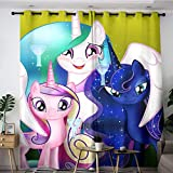 My Little Pony Celestia, Luna and Cadence Art Poster Cortinas para sala de estar, 140 x 183 cm, aislamiento térmico para oscurecer la habitación (tela de poliéster)