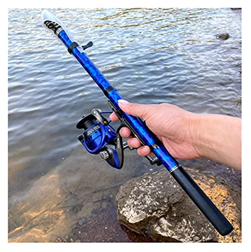Canna da Pesca E Mulinello Set Canna da Pesca Telescopica in Carbonio con Mulinello da Spinning in Metallo 5,5: 1 Kit d'Acqua Dolce (Color : Rod with Blue Reel, Size : 2.4 m)