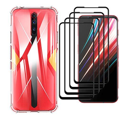 HYMY Hülle für Nubia Red Magic 5G+ 4 x Schutzfolie Panzerglas-Full Glue Full Cover -Transparent Schutzhülle TPU Handytasche Tasche Verstärkung an Vier Ecken Hülle für Nubia Red Magic 5G