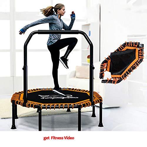Opvouwbaar Trampoline, Indoor Aerobic Fitness Apparatuur Voor Mannen En Vrouwen, 36 Dikke Anti-Slip Netten, RVS Beugel Voet Trampoline, Beer Gewicht 400Kg