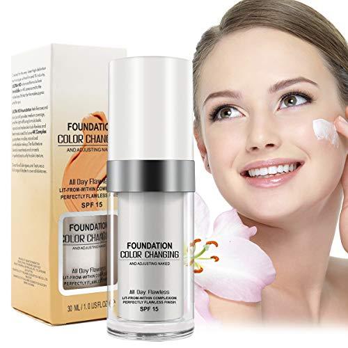 TLM Color Changing Warm Skin Tone Foundation Makeup Base Natrual Face Moisturizing Liquid Cover Concealer (30ML)