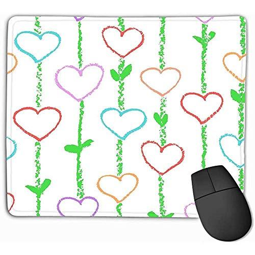 Muis Pad Bloemen Liefde Hart Wax Kleurrijke Crayon Potlood Als Kid s Gekleurde Stroke Strepen Textuur Hand Art Valentine Rechthoek Rubber Mousepad 30X25CM