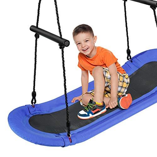 COSTWAY Nestschaukel Baumschaukel 100-160cm verstellbaren Seil, Hängeschaukel 150kg Tragkraft, Mehrkindschaukel Gartenschaukel für Kinder & Erwachsene 123x45cm (Blau)