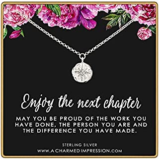 Enjoy the Next Chapter • Congratulations Retirement or Promotion Gift • 925 Sterling Silver • Diamond Starburst Necklace • Service Appreciation Gratitude • Be Proud of the Difference You Have Made