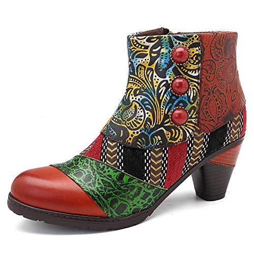 SOCOFY Bohemian Splicing Pattern Button Zipper Ankle Leather Boots  Yellow / 6