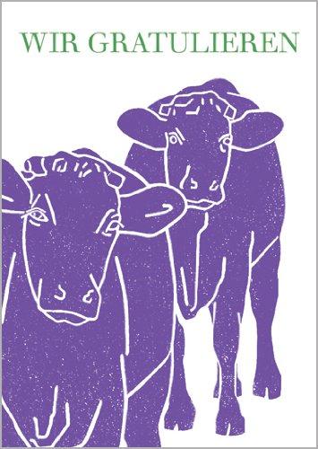 Onbekend in 5-delige set: Vrolijke verjaardagskaart met twee paarse koeien: Wij feliciteren