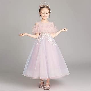 Luxury Children Dress Flower Girl Princess Dress Western Style Wedding Dress Small Host Piano Performance Clothing Girls Tutu Princess Dress Yarn ryq (Color : Violet, Size : 110cm)