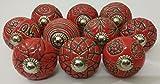 Vintage Look 10 Ceramic Knobs Zoya's Hand Carved Ceramic Knobs Handmade Ceramic Door Knobs Kitchen Cabinet Drawer Pulls Kid's Badroom Knobs by Zoya's (Red)
