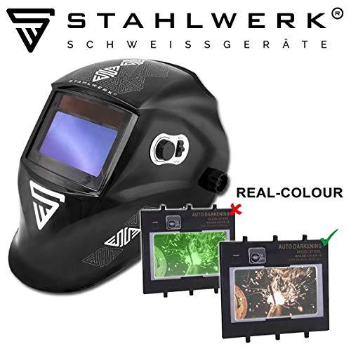 STAHLWERK ST-550L Vollautomatik Schweißhelm, Optische Klasse: 1/1/1/1, großes Sichtfeld, inkl. 5 Ersatzscheiben & Tasche, 7 Jahre GARANTIE auf FILTER