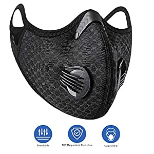 Degbit Unisex N99 Mask Activated Carbon, Air Filter Face Mask & Respirator Masks with Carbon Dust Mask Filter for Allergens, Pollution, Particle Pollen Smoke Woodworking Cycling Running