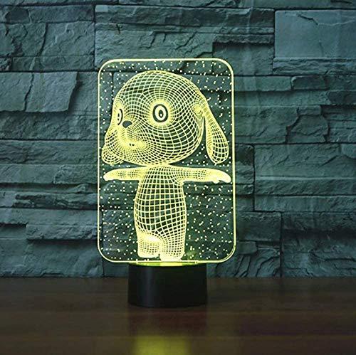 7 colores cambiantes, bonita forma de conejo, lámpara de mesa 3D, USB, botón táctil, LED, luz nocturna de animales, para bebés, regalo para niños