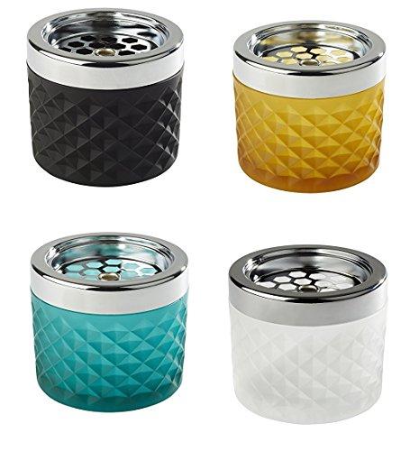 Windascher aus Glas und Metall (verchromt), Glas gefrostet, Glas erhältlich in unterschiedlichen Farben, mit Bajonettverschluss/Ø 9,5 cm, Höhe: 8 cm | Sun (türkis)