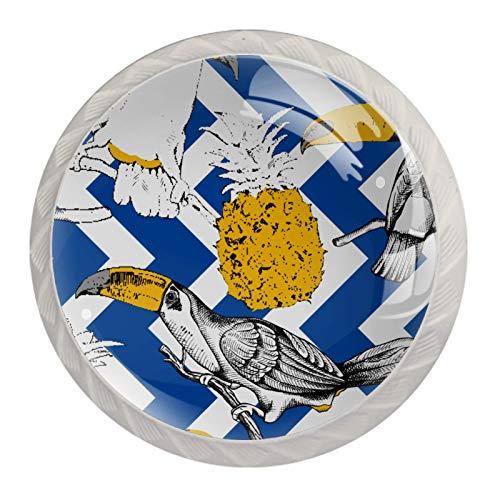 Juego de 4 pomos hechos a mano   diseño de color de cerámica para gabinete, Toucans piña