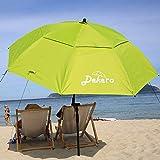 Dekero Large Windproof Beach Umbrella,6.5 ft UV Protection Portable Umbrella with Sand Anchor,Tilt Aluminum Pole, Carry Bag for Beach Patio Garden Outdoor Fishing