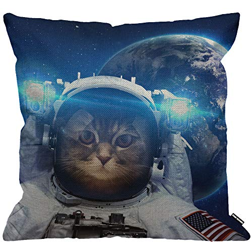 HGOD DESIGNS Space Cat Cushion Cover,Astronaut Cat Nebula Galaxy Outer Space Throw Pillow Case Home Decorative for Men/Women Living Room Bedroom Sofa Chair 18X18 Inch Pillowcase 45X45cm