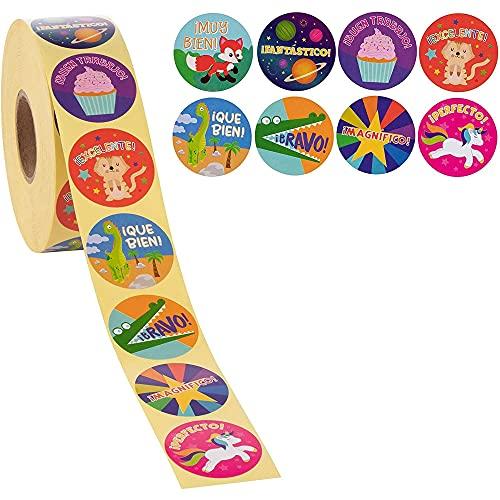 Spanish Motivational Stickers for Kids, Classroom Reward Sticker Roll (1000 Pieces)