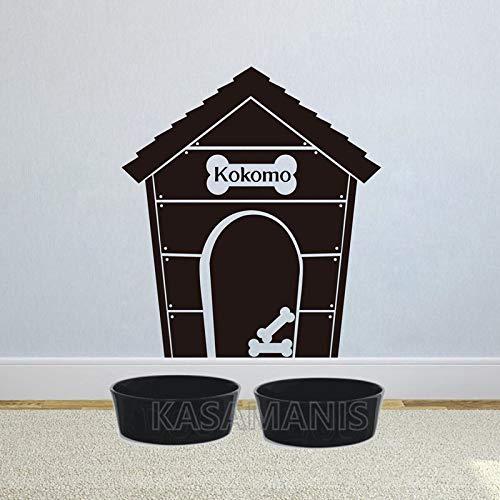 Njuxcnhg Hundehütte Personalisierte Hundenamen Vinyl Wandkunst Aufkleber Benutzerdefinierte Hundenamen Wandkunst Aufkleber Home Pet Zimmer Wandbild Kunst Dekoration 46X40 cm