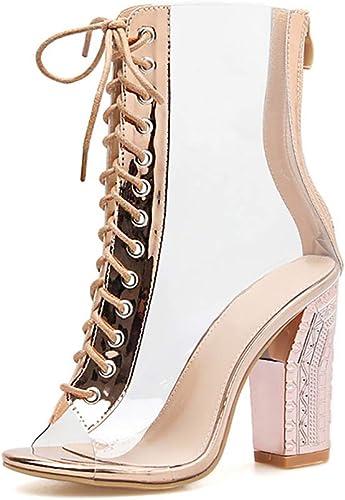 Mzq-yq Bouche de Poisson Transparente avec de Hauts Talons, Chaussures de Talon épais en Tube européen et américain, Sandales Romaines, Bottes Femmes