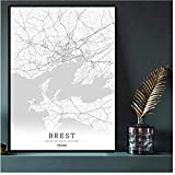 SBGM Militärhafenstadt Brest Schwarz-Weiß-Karte Poster