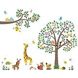 DECOWALL DA-1502P1512 Grandi Adesivi con Alberi e Rami con Animali Adesivi da Parete Decorazioni Stickers Murali Soggiorno Asilo Nido Camera Letto per Bambini decalcomanie