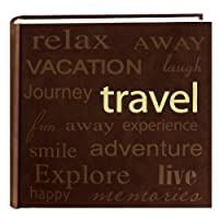 Pioneer Travel Text Design Sewn Faux Suede Cover Photo Album Brown 【Creative Arts】 [並行輸入品]