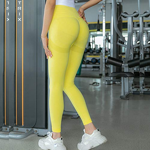 JINBAOYA-Women Gym Yoga Seamless Pants, Sports Clothes, Stretchy High Waist Athletic Exercise Fitness Leggings Activewear Pants,Yellow,M