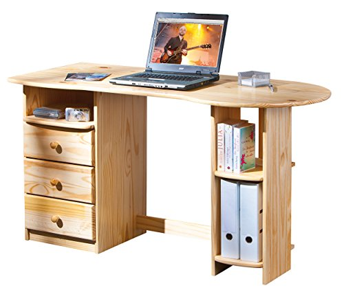 Inter Link Alpine Living Schreibtisch Computertisch Büromöbel Laptoptisch Bio Kiefer massivholz Natur lackiert