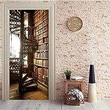 Letusit Autoadhesivas Pegatinas para Puerta PVC En Vinilo Foto Papel Tapiz Murale Salón Dormitorio Decoración,Librería y Escalera de Caracol Patrón L01169
