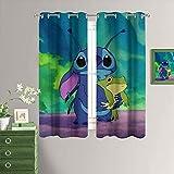 MRFSY Cortinas de dormitorio con aislamiento térmico Lilo & Stitch para dormitorio 42 x 45 pulgadas