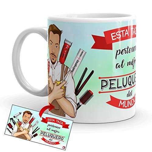 Kembilove Taza de Café del Mejor Peluquero del Mundo - Taza de Desayuno para la Oficina - Taza de Café y Té para Profesionales - Taza de Cerámica Impresa - Tazas de Jefe de 350 ml para Peluqueros