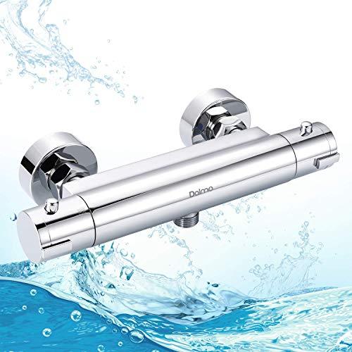 Dusche Thermostat, Dalmo DBWF01GR Brausethermostat Temperatureinstellung und Durchflusseinstellung, Thermostate für Dusche mit 38 °C Sicherheitstaste, Brausearmatur aus H59 Messing