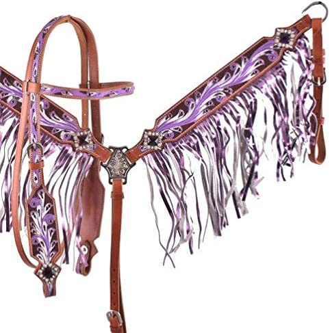 Showman Luxury Leather Headstall Breast Collar T Purple Painted Set w Cash special price