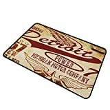 shirlyhome Custom Door Mat Detroit Home Plate Doormat Vintage Elements Michigan Company Free Wings Transport Auto Show Themed 30'x40' Pale Yellow Burgundy
