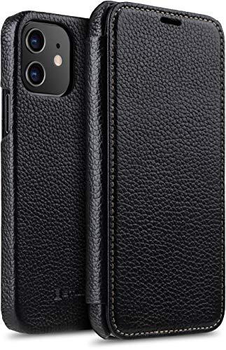 "StilGut Book Hülle kompatibel mit iPhone 12/12 Pro (6.1"") Hülle aus Leder zum Klappen, Klapphülle, Handyhülle, Lederhülle - Schwarz"
