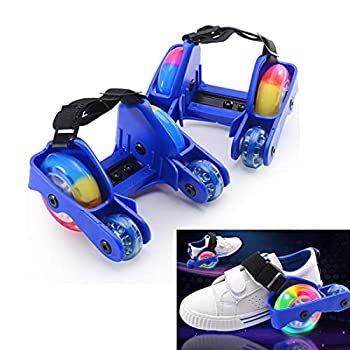calliven Kids Heel Skate Rollers Adjustable Super Load Bearing Heel Wheel Roller Skatting Shoes Two Wheels Skate Shoes Scooters with Auxiliary Wheels 99lb Weight Limited