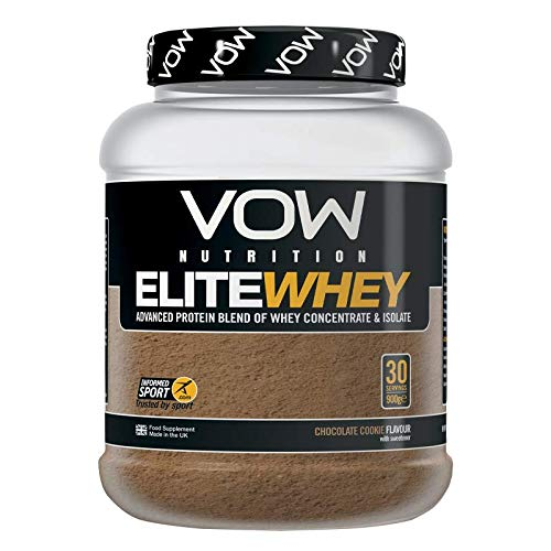 VOW Nutrition Elite Whey Protein 900g Whey Isolate, Whey Concentrate 30 Servings, Quality Protein with Naturally Occurring BCAAs and Glutamine, Informed Sports Approved (Chocolate)