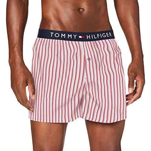 Tommy Hilfiger Herren Woven Boxer Print Boxershorts, Weiß (Mu_Del1_Shirtstripe_Pvhwhite), Small (Herstellergröße:)