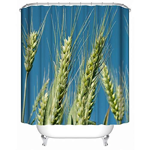 Guohome Duschvorhänge Weizen Ohren Herbst Landwirtschaft Blau Grün Wasserdichtes Anti-mehltau Stoff Badezimmer Dusche Vorhang 66