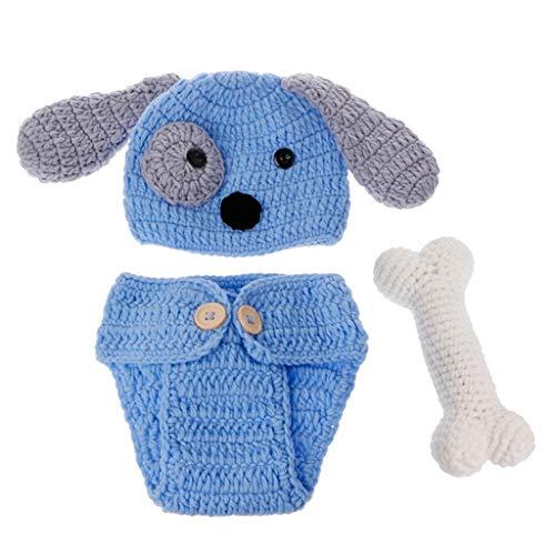 sharprepublic Accesorios para Fotos de Bebé Recién Nacido Trajes Crochet Knitted Blue Dog Hat Shorts con Hueso
