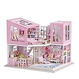 Decdeal DIY Casa de Muñecas de Madera para Bricolaje con Muebles y LED Juguete Creativos para Niños Cumpleaños Fiestas Mini Kit Decoración del Hogar