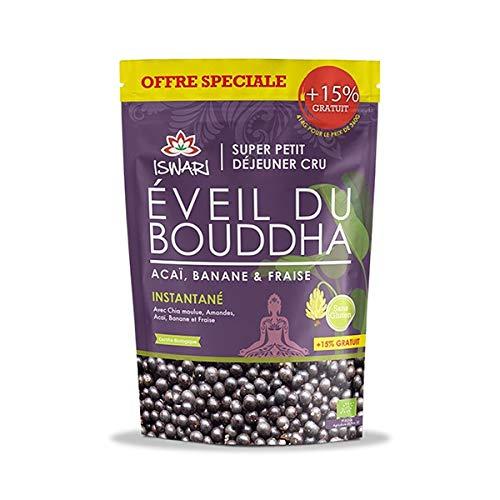 Iswari Eveil du Bouddha Açai & Banane & Fraise Bio 360g +15% Offert